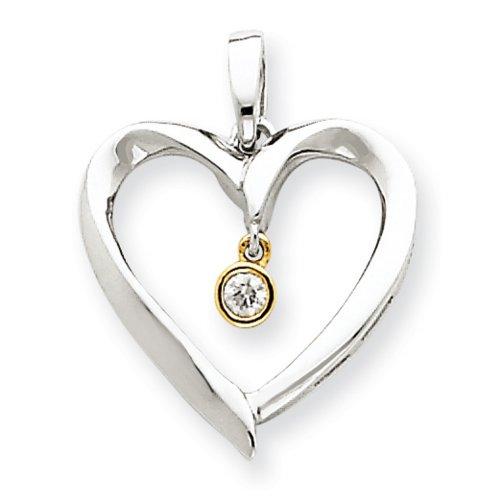 Icecarats Créatrice De Bijoux 14K Bicolore Pendentif Coeur De Diamant