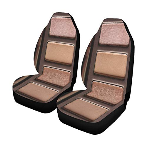INTERESTPRINT Funny Eye Shadow Palette Makeup Car Front Seat Set of 2, Auto Seat Covers for SUV,Car,Truck,Sedan,Minivan ()