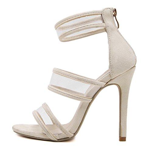MEI&S Sandales femmes nouilles velours Sandales Fermeture MEI&S éclair dos Scrub Scrub Talons aiguilles chaussures Apricot 618ff1b - boatplans.space