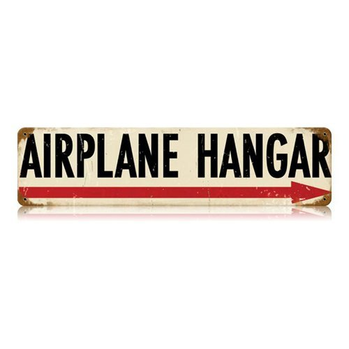 Airplane Hangar Right Metal Sign Wall Decor 20 x 5 (Metal Decor Sign)