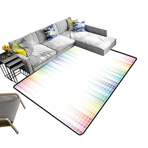 - Non-Slip Area Rug Pad Art Musical Volume Tone Absrtact Picture Little Square Mosaic Tiles Protect Floors and Securing Rug 2' X 4'