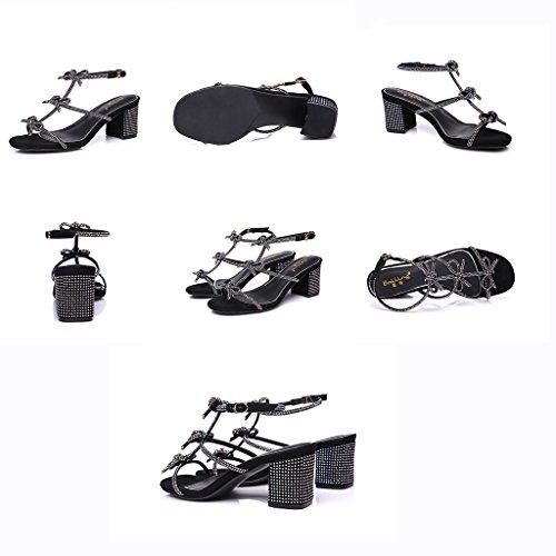 mit Color Black Mode mit mit KaiGangHome 4inch Mode Size Schuhe Bogen Schnalle dick Wort Schuhen Höhe 37 2 Strass Sandalen 6cm gXxwz