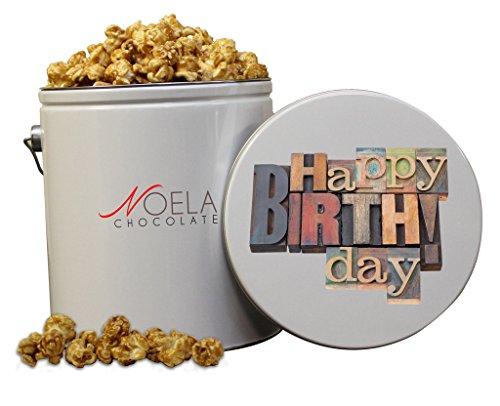 Noela Chocolate Gourmet Popcorn 1 Gallon tin Caramel Happy Birthday Block