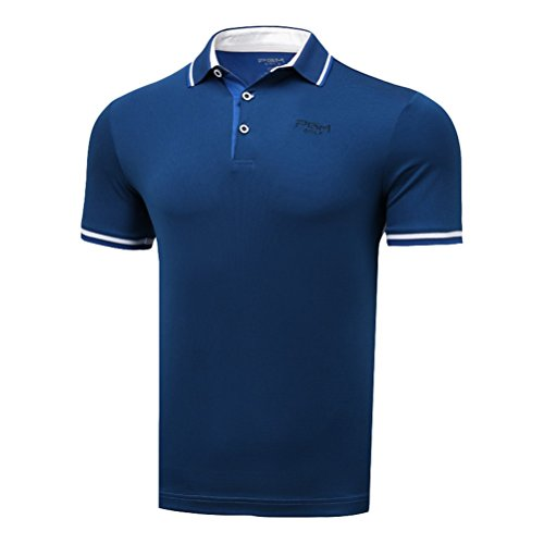 Kayiyasu ポロシャツ メンズ ゴルフウェア UVカット ゴルフシャツ オシャレ スポーツシャツ 男性用 半袖 Tシャツ 運動着 日焼け止め 021-xsty-yf133(L ブルー)