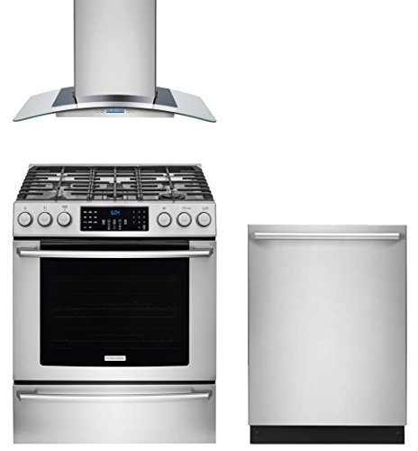 """Electrolux 3-Piece Stainless Steel Kitchen Package with EI30GF45QS 30"""" Gas Range, RH30WC60GS 30"""" Wall Mount Chimney Hood and EI24ID50QS 24"""" Fully Integrated Dishwasher"""