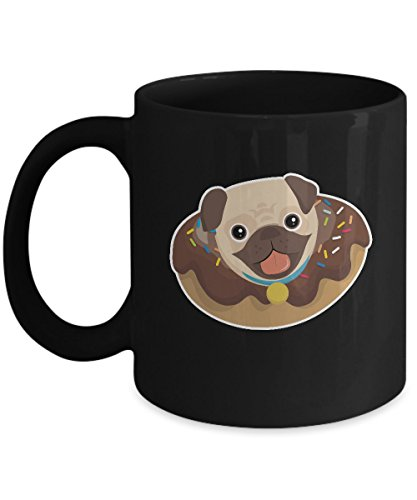 Shirt White Pug in Donut & Broom Cute Dog Coffee Mug 11oz Black