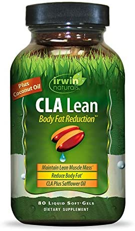 Irwin Naturals CLA Lean Body Fat Reduction High Potency Conjugated Linoleic Acid – Weight Management Supplement Exercise Enhancement with Safflower Coconut Oil – 80 Liquid Softgels
