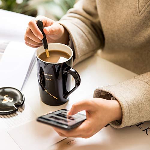 Fullcci-15oz Creative Constellation Gemini Coffee Mug Set Capacity Upgrade Tea Cup For Cocoa Water Milk Juice(Gemini-Black)