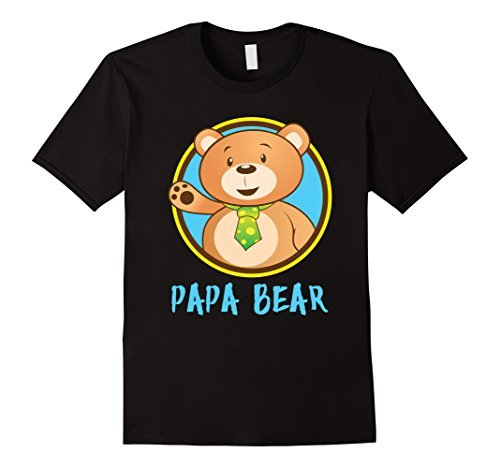'Papa Bear Matching Shirt' Cute Papa Bear Couple Shirt (Black Yogi Bear)