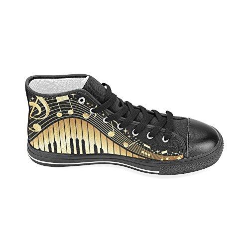 D-histoire Notes De Musique Personnalisée Avec Piano Clavier Hommes Classique Haut Haut Chaussures De Toile Sneaker De Mode