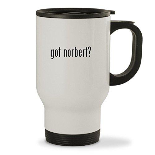 got norbert? - 14oz Sturdy Stainless Steel Travel Mug, White (Glas-leser)