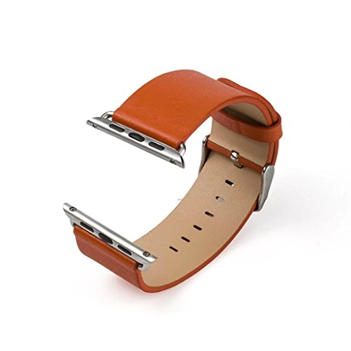 Apple Watch Bands,Genuine Leather Strap WristBand with Silver Adapters for Apple Watch/ Sport/ iWatch Replacement Band with Metal Clasp in Edition 38mm