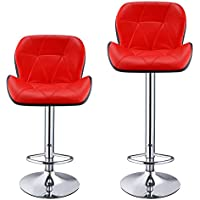 cheesea 2017 New Stylish Bar Stools,Swivel Modern Art Furniture Adjustable Lift Chair,Set of 2,Black[US STOCK] (Red)