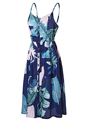 with Sleeveless Blooming Dresses Womens Boho Hawaiian Dress Midi Button Summer Waist Floral High Jelly Pockets Chiffon Down Print Palm HAtqwApZ