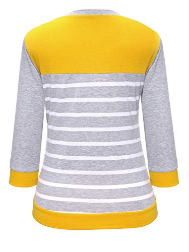 Automne Longues Jaune Raye Shirts Patchwork Hauts Pullover Col Rond Femmes Shirts Printemps Fashion Blouse Manches Jumpers T Tops Sweat Pulls et 5xqRn0