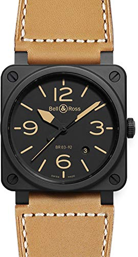Bell & Ross Men's BR-03-92-HERITAGE Aviation Black Dial and Beige Strap Watch Watch