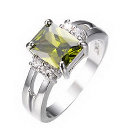 [jacob alex ring Rings Size 7 Green Peridot Zircon Women's 10Kt White Gold Filled Wedding] (Good Couple Halloween Costumes)