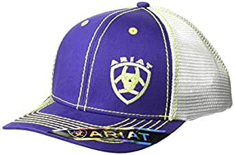 ARIAT Women's Offset Logo Mesh Snap Cap, Purple, One Size