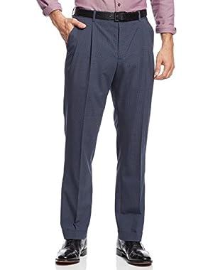 Anchor Blue Box Plaid Double Pleated Front Dress Pants 30 x 30