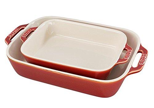 Staub Ceramic 2-pc Rectangular Baking Dish Set - Rustic Red