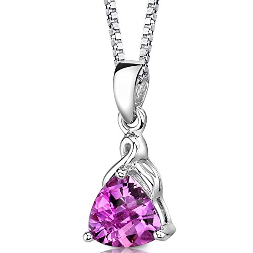 Created Pink Sapphire Pendant Necklace Sterling Silver Trillion Cut
