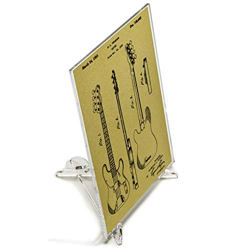 Blast! Desk Art, Fender Bass Guitar Patent Print with Stand, Screened on Acrylic, 5