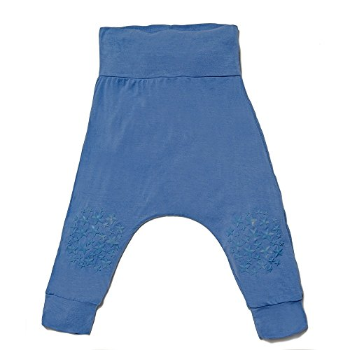 Go Little One Go Anti-Slip Bamboo Baby Crawling Harem Pants - Helps Learning to Crawl on Slippery Floors Easier and Safer (Breezy Blue)
