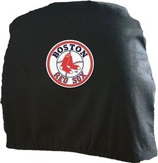 (Pair of MLB Car Headrest Covers - Boston Red)