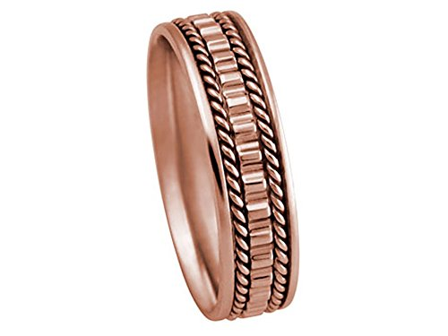 Men's 14K ROSE GOLD DESIGNER BOX STEP ROPE 5.5mm COMFORT FIT WEDDING BAND size 7.25