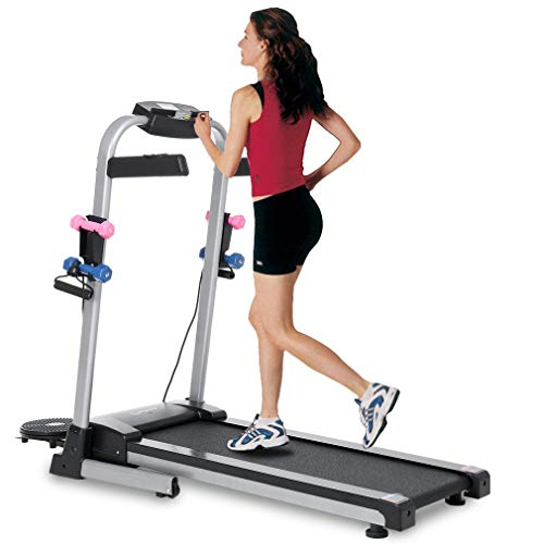 Blackpoolfa Upgraded 1.5HP Electric Folding Treadmill with Large LCD Display, Drawstring, Twist Plate, Dumbbell, Motorized Running Machine with Wheels for Home & Gym - Easy Assembly