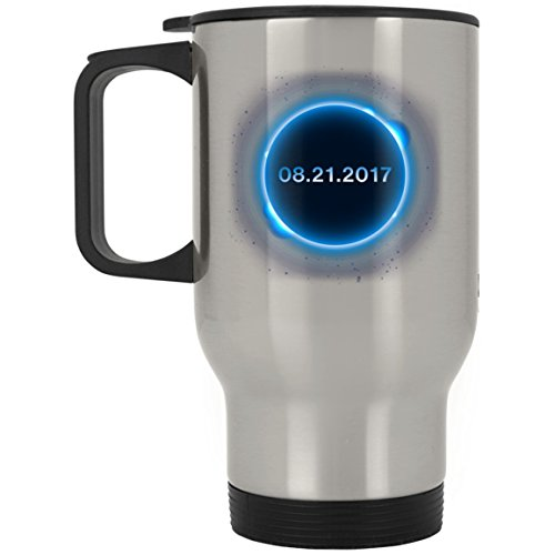Circle Total Solar Eclipse Aug 21 2017 Silver Stainless Travel Mug by TeeEver