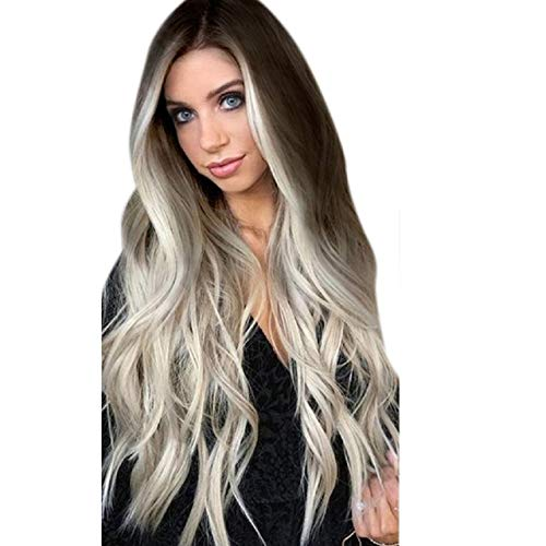 Eyeshadow Putars Gray 60cm Womens Synthetic Wig Grey Long Wavy Full Wigs Party Hair Wigs Women Party Cosplay Festival Fancy Dress Party Wigs Wigs for Women Human Hair Natural Wig (Gray)