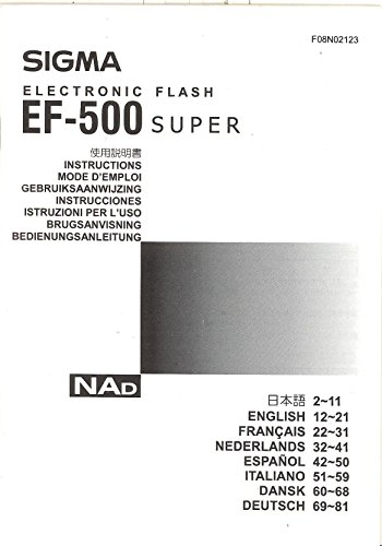 - Sigma Electronic Flash EF-500 Super Original Instruction Manual - multi-language