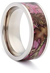 #1 CAMO Wedding Rings - Pink Camouflage Engagement Bands for Women - Flat Titanium Pink Camo
