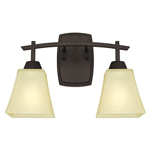 Two-Light Indoor Wall Fixture, Oil Rubbed Bronze Finish with Amber Linen Glass