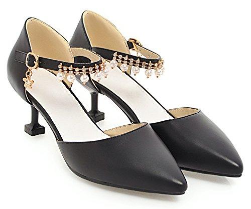 Aisun Womens Trendy Beaded Pointed Toe Dressy Buckled Stiletto Kitten Heel DOrsay Pumps Shoes With Ankle Strap Black tsZ7CvPpq