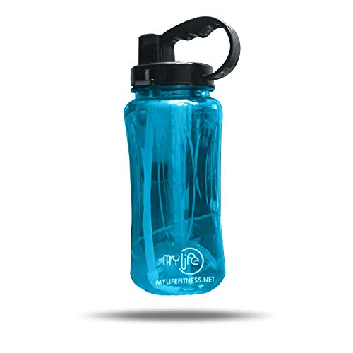 My Lifes - Water Bottle   2000ML (.528 Gallon)   with Straw and Handle   Made with TRITAN Material   100% BPA Free Leak Proof and Reusable Best for Gym, Yoga, Running, Cycling, and Camping