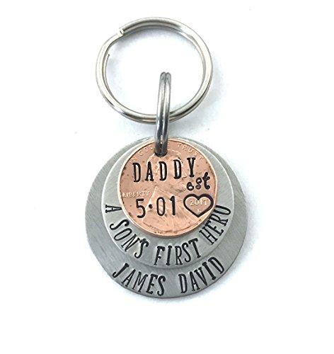 Father's Day Keychain - Daddy Keychain - A Son's First Hero - Fathers Day Gift - New Dad Gift - Gift for Husband - First Fathers Day