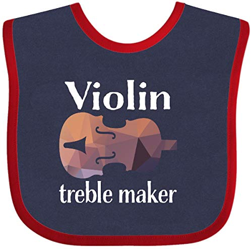 (Inktastic Violin Treble Maker Funny Violinist Music Gift Baby Bib Navy and Red)