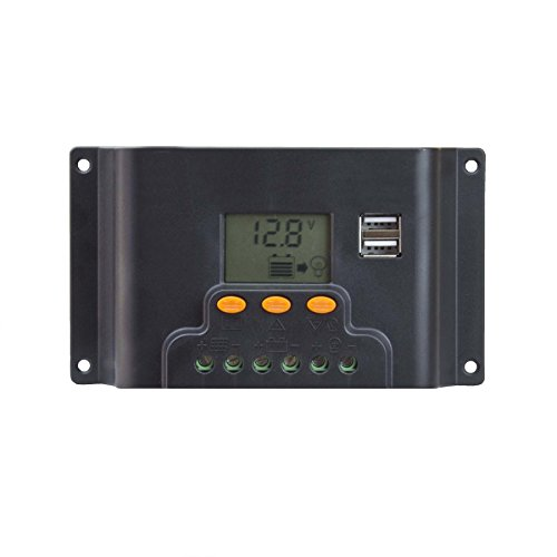 ExpertPower 20A 12/24V 240/480W Intelligent PWM Solar Charge Controller with Adjustable Timer Control Mode, USB Ports, and LCD Display by ExpertPower