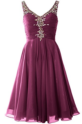 MACloth Cocktail Evening Short Dress Neck Weinrot Women Gown Homcoming V Crystal Party SgSrq
