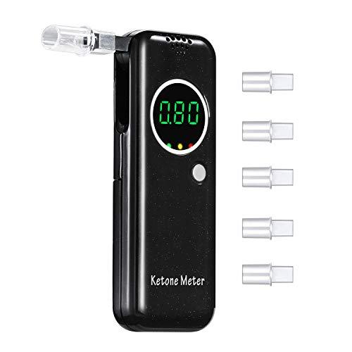 Ketone Meter, Digital Ketone Breath Analyzer, Portable Ketone Monitor, Ketosis Testing Kit with 5 Mouthpieces for Dietitian Testing