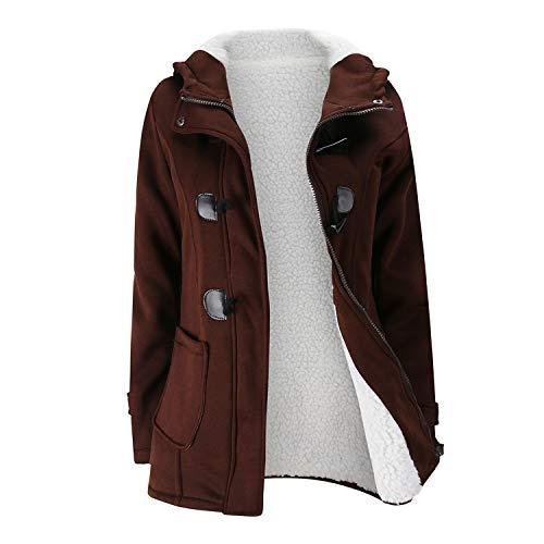 White Island Women's Fashion Trench Coat Autumn Thick Lining Long Hooded Coat Zipper Horn Button Outwear,Brown,XXL