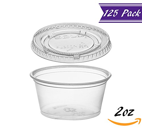 (125 Pack) 2-Ounce Plastic Portion Cups with Lids, Small Clear Plastic Condiment Cups / Sauce Cups, Disposable Souffle Cups / Jello Shot Cups by�Tezzorio