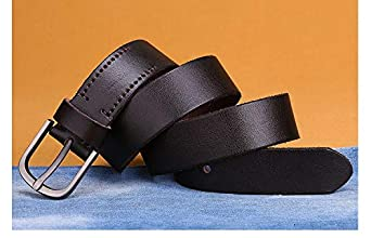 H-M-STUDIO MenS Leather Cowboy Leather Fastener Young Leather Casual Belt Pure Leather Fashionable Leather Belt