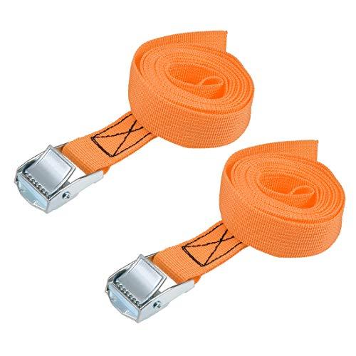 uxcell 荷物ストラップ ラチェット式 ベルト 荷物固定ロープ 荷物落下防止 カムバックル付き ロード250Kg 2Mx25mm オレンジ 2本入