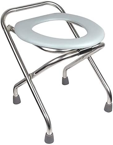 ipekar Folding Commode Portable Toilet, 16.5 Premium Stainless Steel Porta Potty Chair, Perfect for Construction Sites, Fishing, Hiking, Outdoor Living, Parties, Camping