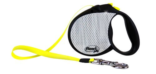 Flexi 16-Feet Neon Reflect Retractable Belt Dog Leash, Large, Black/Neon Yellow, My Pet Supplies