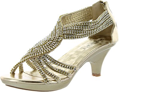 Delicacy Womens Angel-37 Strappy Rhinestone Dress Sandal Low Heel Shoes,Gold,10