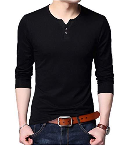 - Aiyino Men's Casual Slim Fit Long Sleeve Henley T-Shirts Cotton Shirts L-C-Black